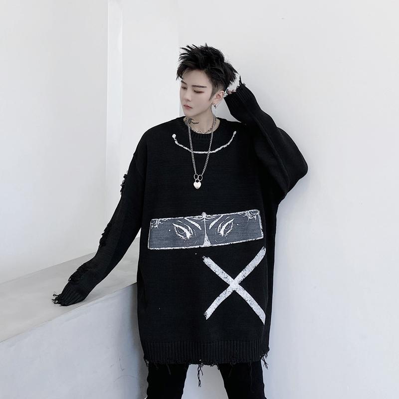 Мужчины Женщины Streetwear Хип-хоп Пара вязать свитер мужчин осень зима глаз печати Сломанный Hole Сыпучие Причинная пуловер свитер