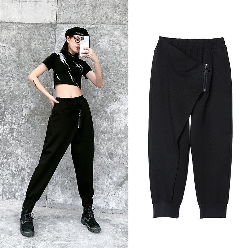 Z-ZOUX Mujer Pantalones Harem Negro Negro cintura elástica pantalones flojos de las mujeres casual pantalones de la manera del tobillo de longitud 2020