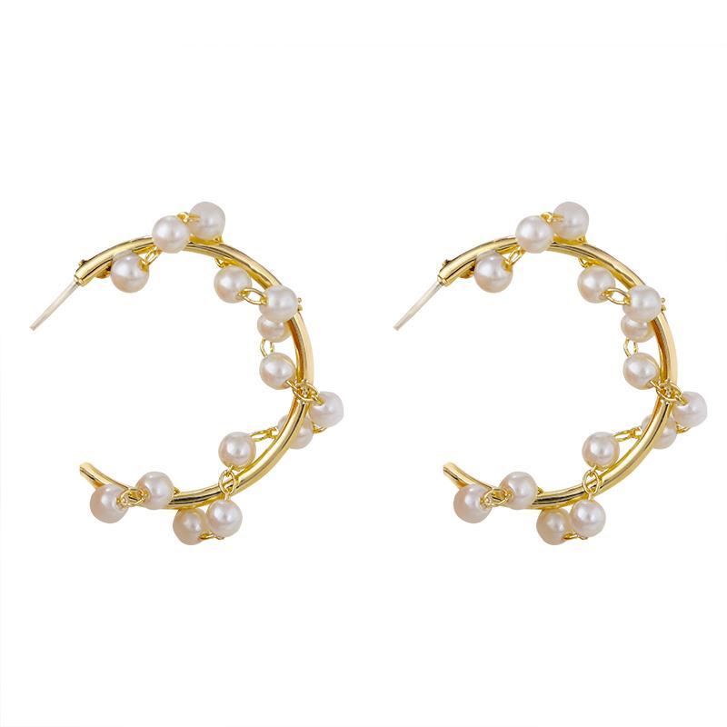 Perle Fashion Twist Boucles d'oreilles pour les femmes coréenne personnalité ouverte Cercle Boucles d'oreilles Déclaration Bijoux 2020 Femme