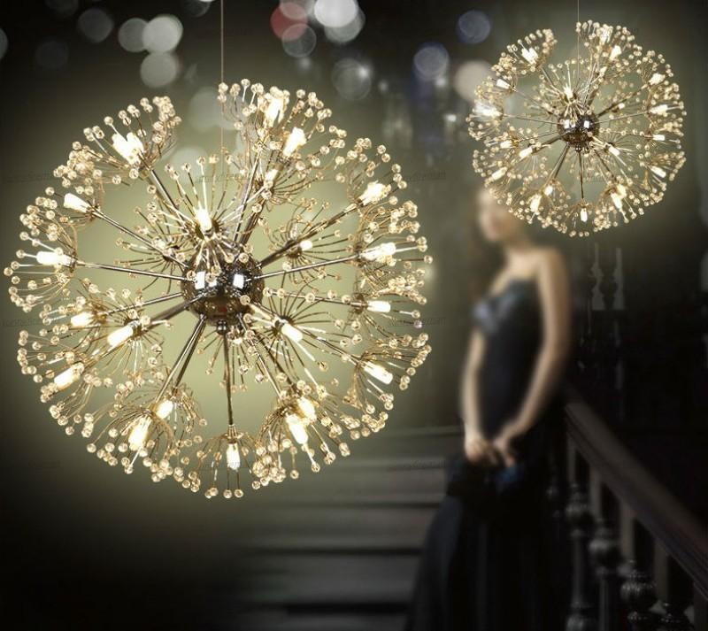 Dandelion Crystal Pendant Lamp Kitchen Dining room suspended luminaire indoor home LED tree branch chandelier Fixtures