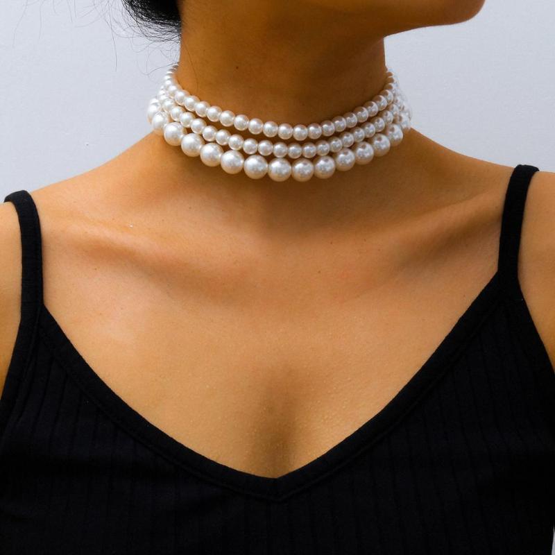 Catenella Bianco imitazione collana di perle punk a più strati signore sposa corto clavicola Hearts N Ragazze Charm banchetti gioielli s