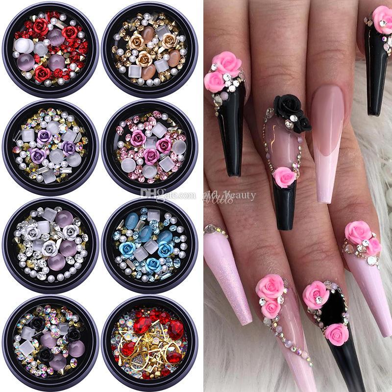 1box 3D Pierres nail Strass mixtes __gVirt_NP_NNS_NNPS<__ Stickers colorés avec Nail Curved brucelles cristaux Nail Art DIY design Décorations