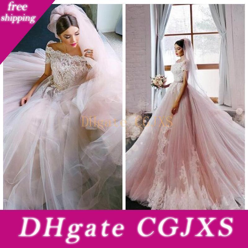 Vestidos De Mariee 2018 Belle princesse -ligne robes de mariée en dentelle Paillettes perles Appliques Robes de mariée à manches courtes sur mesure