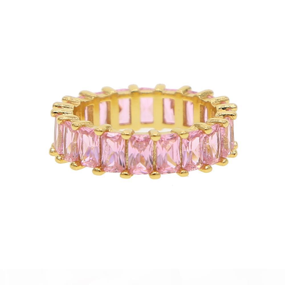 2018 gioielli donne di lusso dito spianato rosa zirconi fidanzamento banda di lusso anello alla moda per le donne cz signora