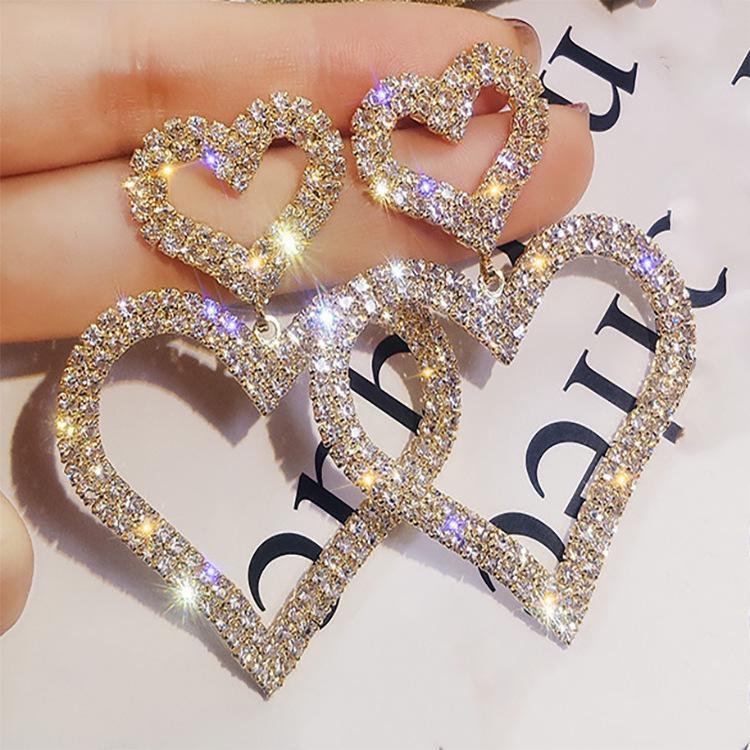 Vente chaude mode populaire exagérée boucles d'oreilles en diamant 925 femmes aiguille d'argent de doubles coeurs cadeaux de fête de vacances de boucles