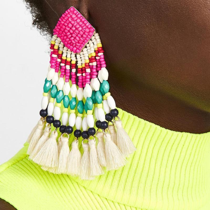 MANILAI 2020 Bohemia Бисер кисточкой серьги для женщин ручной работы Длинные бисером Fringe мотаться серьги кисточкой Этнические украшения