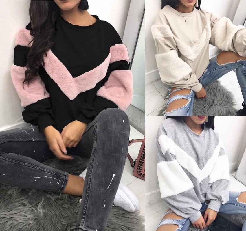 Womens Hoodies Quente Plush camisola Stitching manga comprida Patchwork pulôver Tops Camisola Jumper Asiático Tamanho S-2XL SqOz #