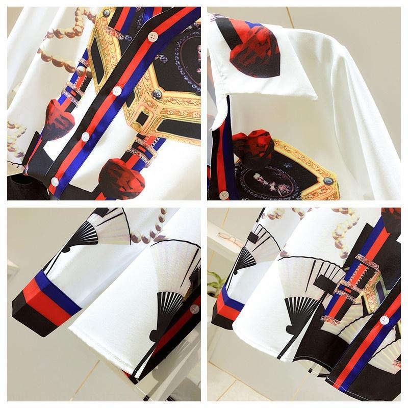 NmkYk 2020 top de manga comprida novo nicho Francês parte superior da camisa camisa ocidental do estilo de emagrecimento projeto V-neck das mulheres