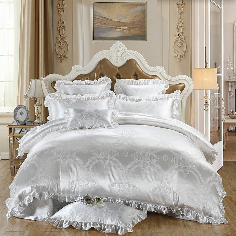 Deluxe White Satin Silk Jacquard Queen Bedding 4pcs Down Bed Cover Bed Sheet Cover Pillow Set