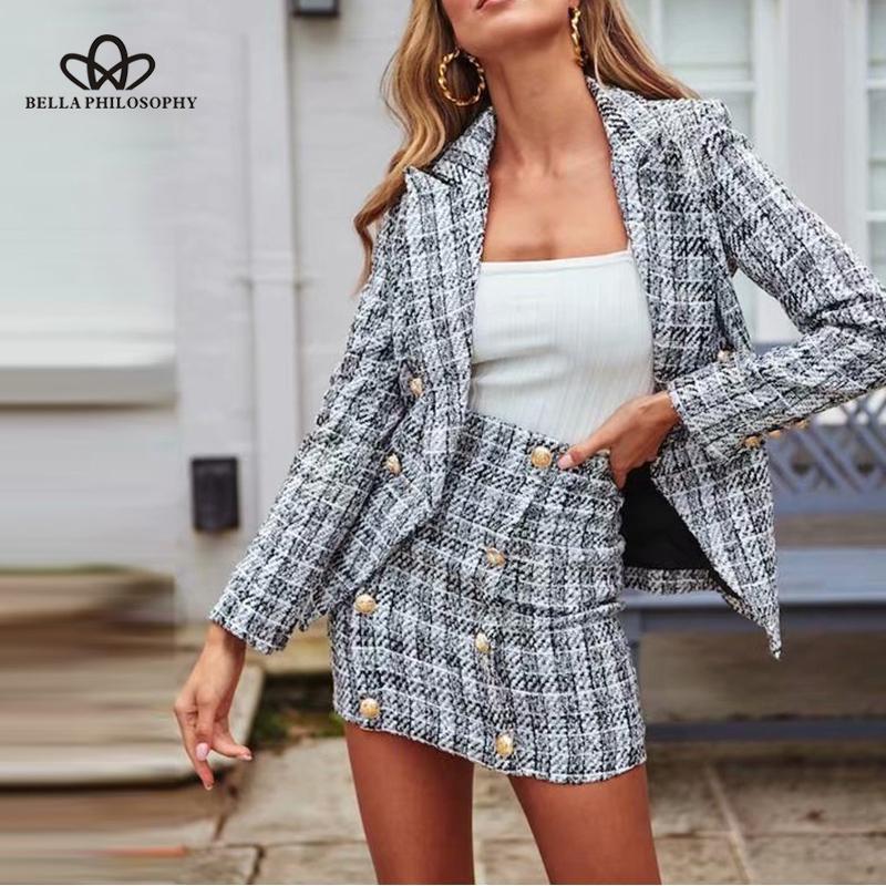 Bella Filosofia Mulheres New Double Breasted Blazers Jackets Vintage Zipper Feminino Tweed Define Rua Suits Casual Wear Senhora do escritório