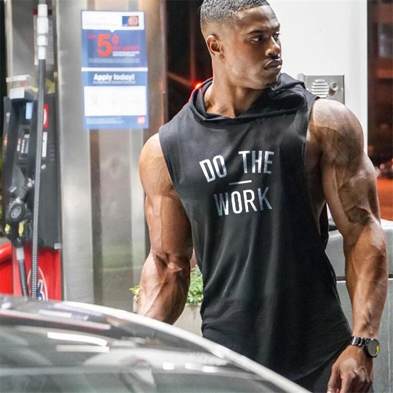 Nouveau DO TRAVAIL Imprimer Bodybuilding Stringer Hoodies Sporting Fitness Marque Tank Top Hommes Vêtements Gymnases coton Pull à capuche CX200817