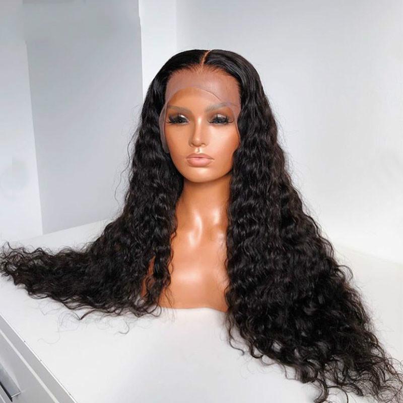 Vrac curl 250 densité de dentelle 13x6 dentelle frontale human cheveux perruques 360 dentelle perruque frontale perruque brésilienne Remy Remy Water Wave 30 pouces pleine que vous pouvez