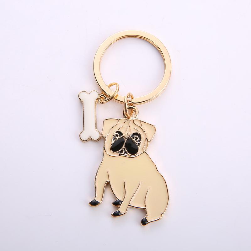 Joyería del barro amasado llavero linda de la manera perro de mascota llavero del metal Pom Gift Bag Charm regalos de cinturón colgante Mujeres coche mejor amigo