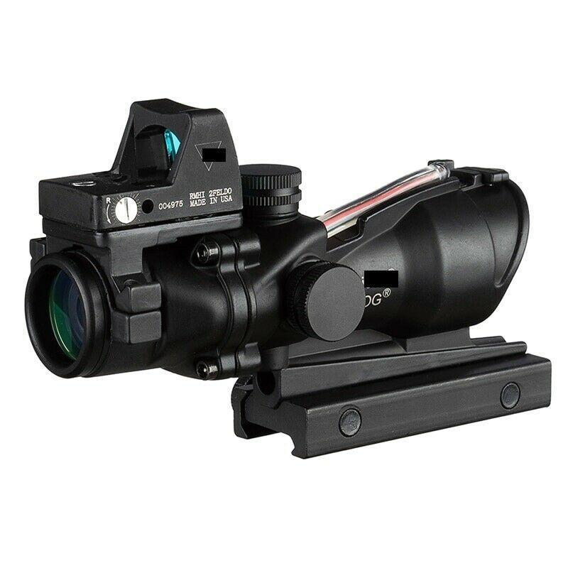 사냥 Acog 스타일 4x32 실제 섬유 Trijicon Duel 조명 된 시력 범위 rmr 마이크로 빨간색 또는 녹색 섬유 w / rmr 마이크로 레드 점