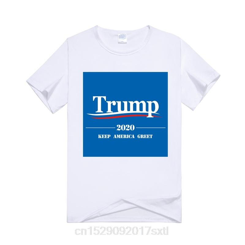 Donald Trump 2020 Keep America Greet Impreso Hombres Color Blanco Camiseta divertida tendencia manga corta cuello redondo remata la camisa