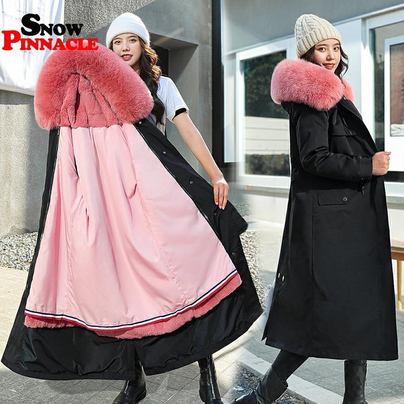 donne inverno 2020 giacche di pelliccia X-lungo cappotto casuale cappotto sottile addensare caldi parka con cappuccio outwear Solid plus size