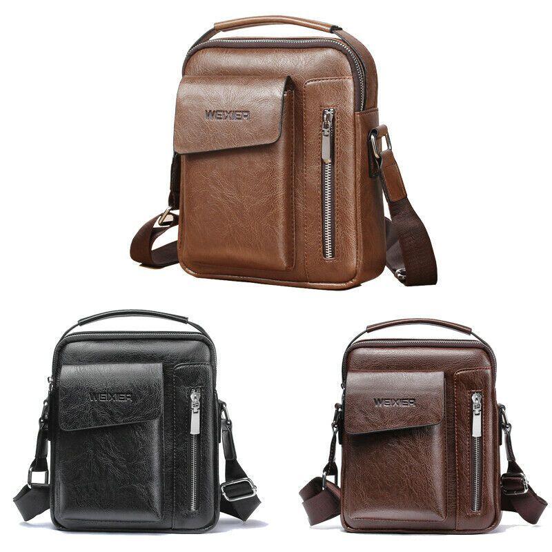Crossbody Bags Men Zipper Solid Leather Briefcase Business Shoulder Bags Chest Bag USB With Hole Back Handbag Packs Purse
