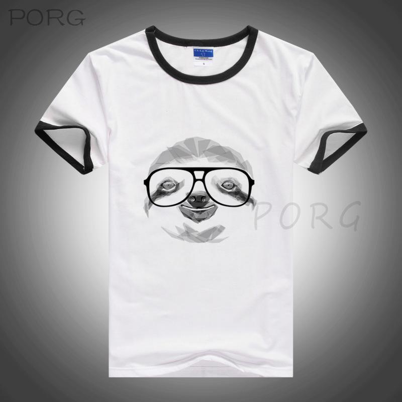 Geometric Sloth Novo Design Imprimir Men T Shirt Casual engraçado camisetas de alta qualidade Tees Hipster Drop Ship Hip Hop Harajuku camisa dos homens