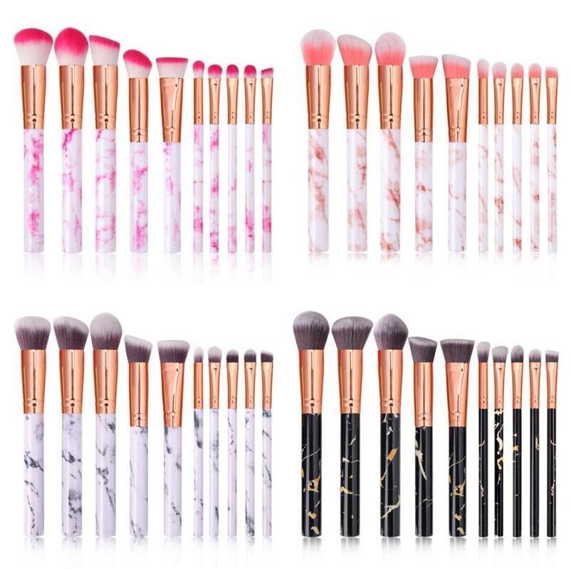 Plastic Marbling Makeup Brush Set Long Handle Artificial Fiber Material Brushes Kit Lady Cosmetics Soft Hairbrush Fashion 12bf G2