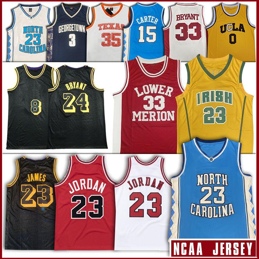 NCAA 23 James Bryant LeBron Jersey Nord Carolinass Tar Heels 23 Michael KB Lower Merion Bul College Basketball Jersey