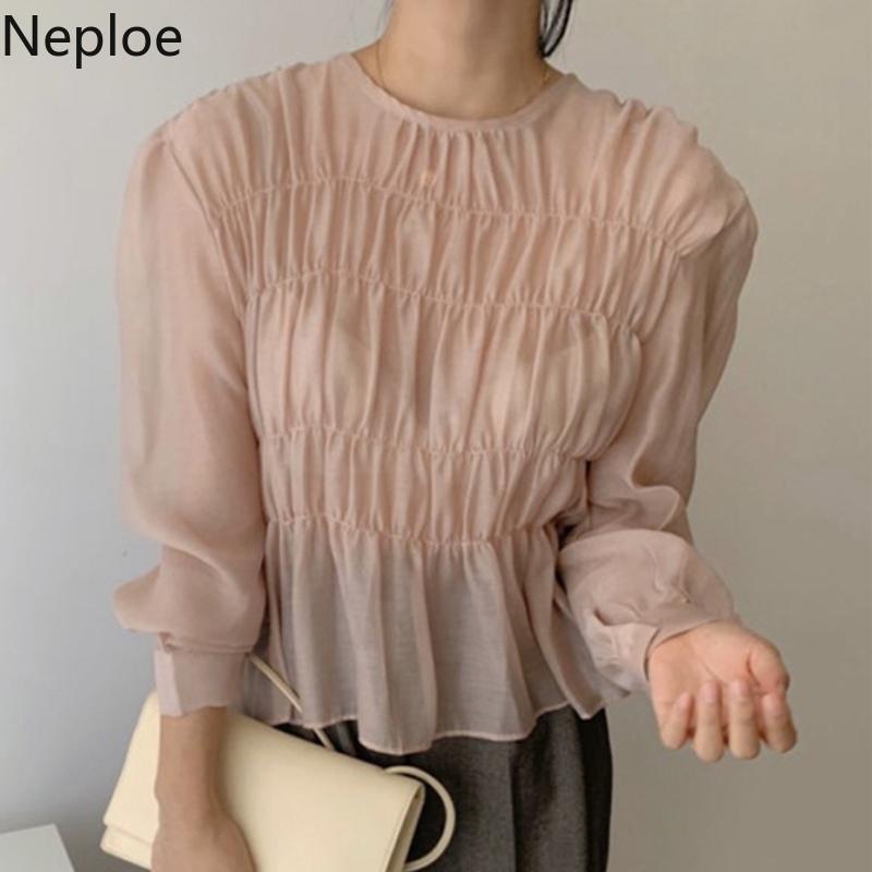 Neploe coreano Ins O Collo Puff maniche lunghe camicetta Solid Pieghe design Prospettiva Blusas primavera-estate 2020 Nuova camicia LJ200831