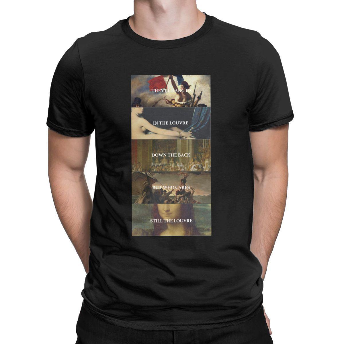 Erkek Tişörtler Louvre Komik Saf Pamuk Tee Gömlek Kısa Kollu Mona Lisa Sanatçı T Shirt Crewneck Giyim 4XL 5XL