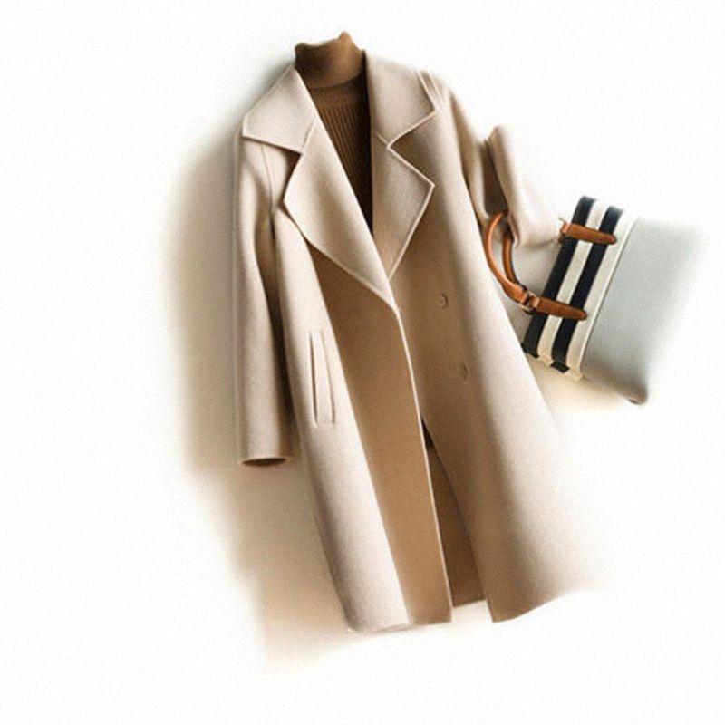 Новая зима высокого качества куртка женщин Pure Ha cahmre 100% Продано цветное шерстяное пальто женщин кашемира Trenchcoat Элегантный Длинные Шинель m0yX #