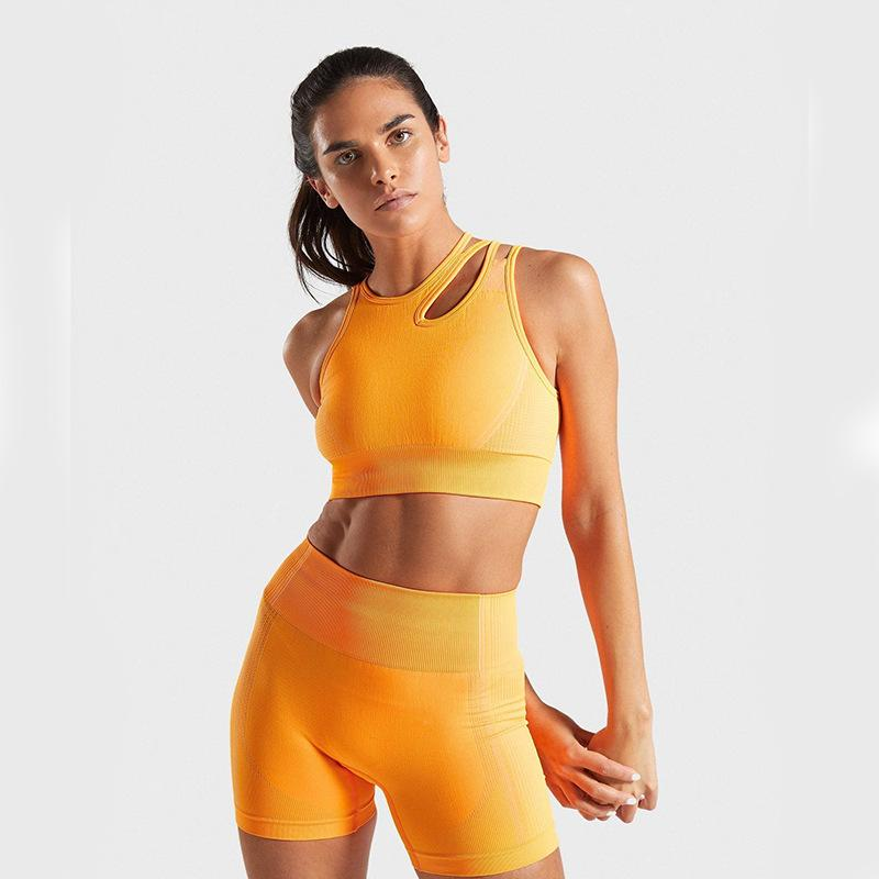 2020 Summer Sport Set Women Two 2 Piece Purple Crop top Sport Bra Shorts Yoga Sportsuit Workout Outfit Thin Polyester Gym Set