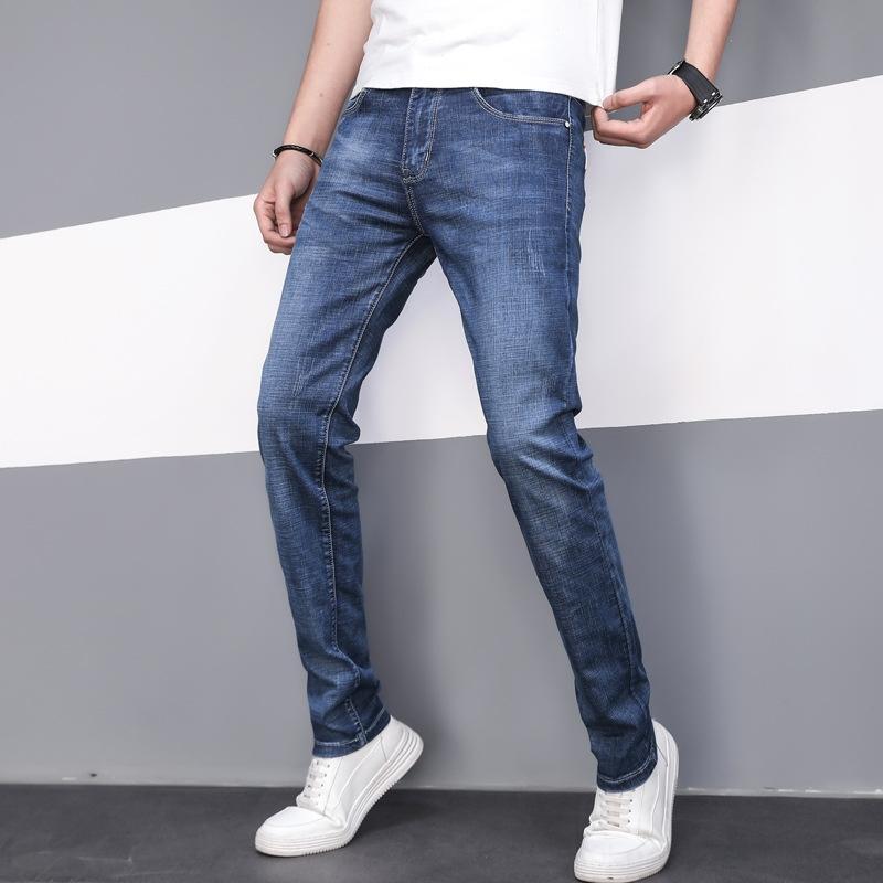 0arDA cBxUx Primavera e Verão novo estilo coreano calças stretch forma magro simples dos homens jeans reta Denim calças moda 325
