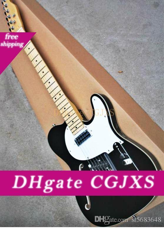 ¡Envío libre de calidad superior de la placa Negro Color Blanco F del cuerpo del hueco de arce diapasón de la guitarra eléctrica Tl 190904