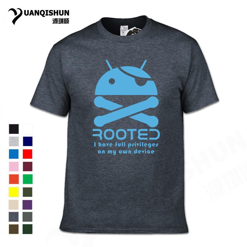 YUANQISHUN Boutique camiseta 2018 Verão Android Enraizado engraçado camiseta crânio do robô do pirata Camiseta Rua Casual personalizado Camiseta T
