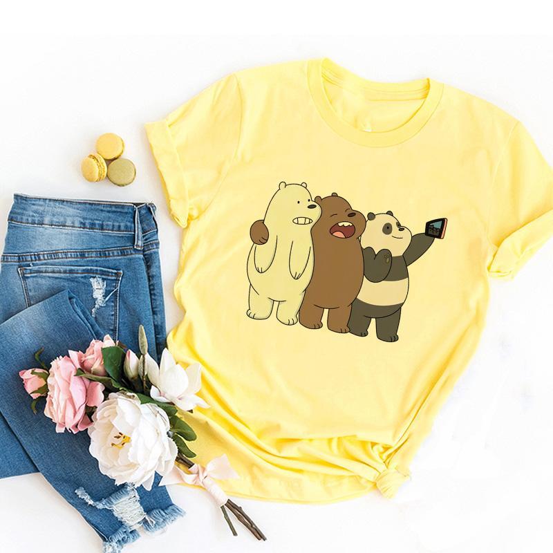 Été mignon ours imprimé T-shirt dames d'amusement T-shirt mode Harajuku vêtements décontractés rue lâche T-shirt Kawaii top tee