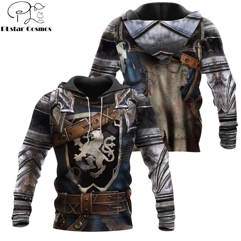 Chaqueta 3D Impreso cota de la armadura del caballero de los hombres con capucha templarios Harajuku moda suéter unisex cosplay sudaderas QS-006 CX200808