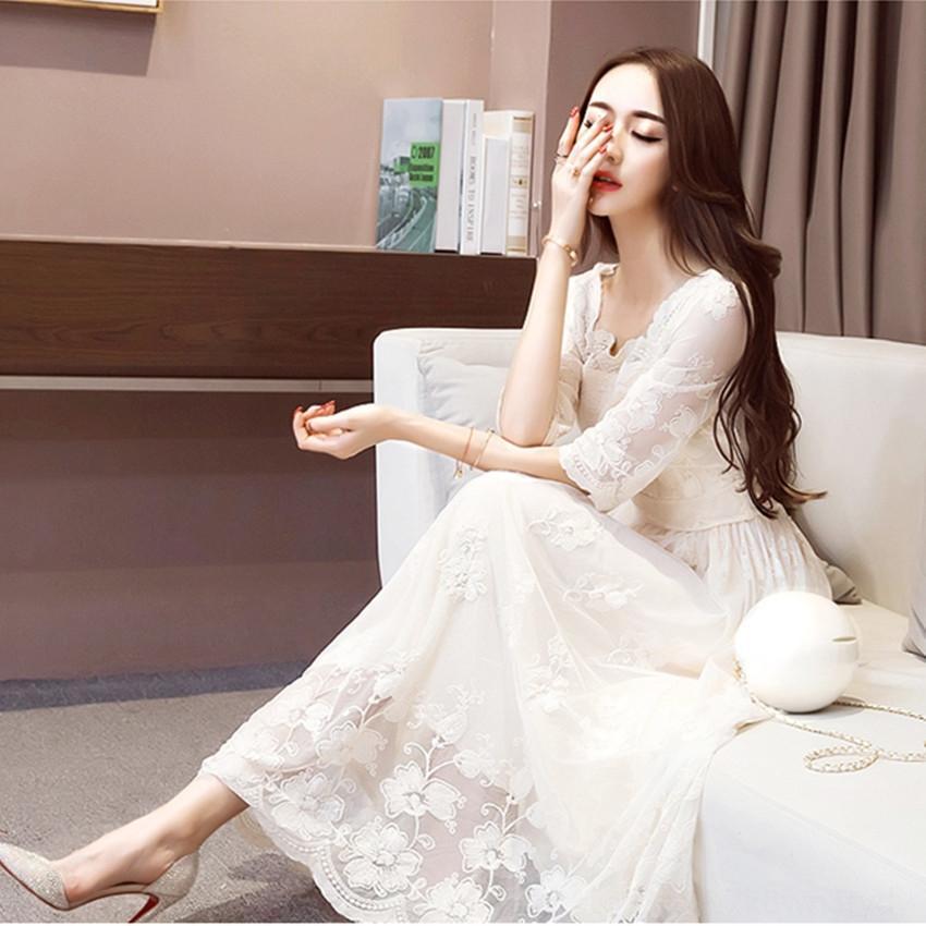 CN6dO 2020 Primavera Lace vestido temperamento socialite roupas coreano vestido grande rendas tamanho de comprimento médio das mulheres slim-fit novo
