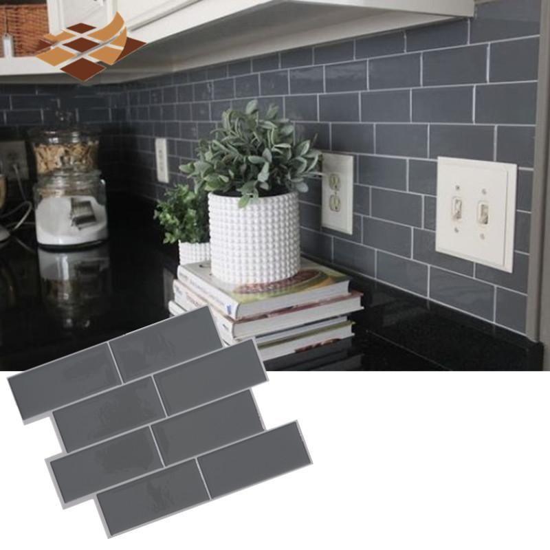 회색 벽돌 지하철 타일 껍질과 스틱 자체 접착 벽 데칼 스티커 DIY 주방 욕실 홈 인테리어 비닐 3D