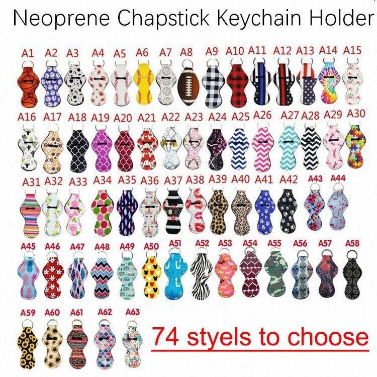 Hot Designs néoprène porte-clés sport imprimés léopard Chapstick Porte-keychian Rouge à lèvres Lip Wrap Holder Party Cover cadeau DHD229 eFlb #