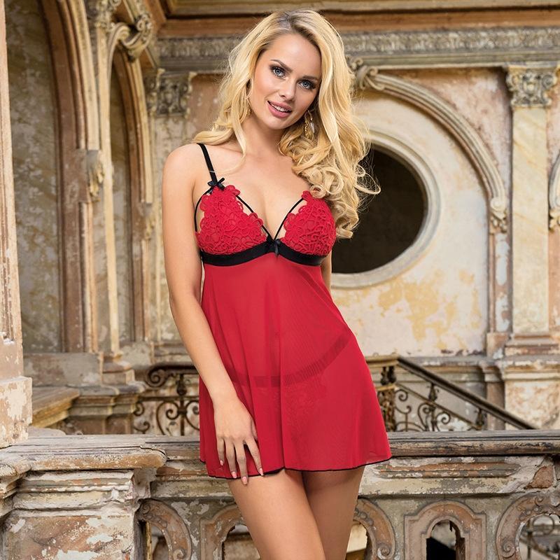 LTlav Grande pigiama biancheria intima sexy di formato Sling Pigiami sexy tentazione bretella camicia da notte di pizzo trasparente 80926