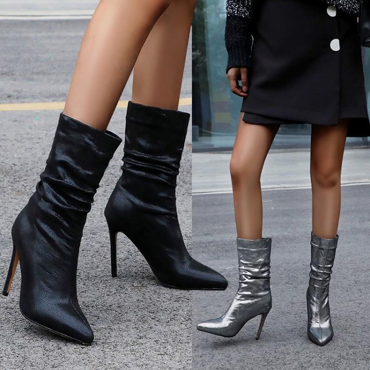 Laimall chaussure de mode Taille supplémentaire 34 à 42 à 48 Femmes Sexy Pointu talon haut Bottes Noir Argent cheville bottillons Nightclub Wear