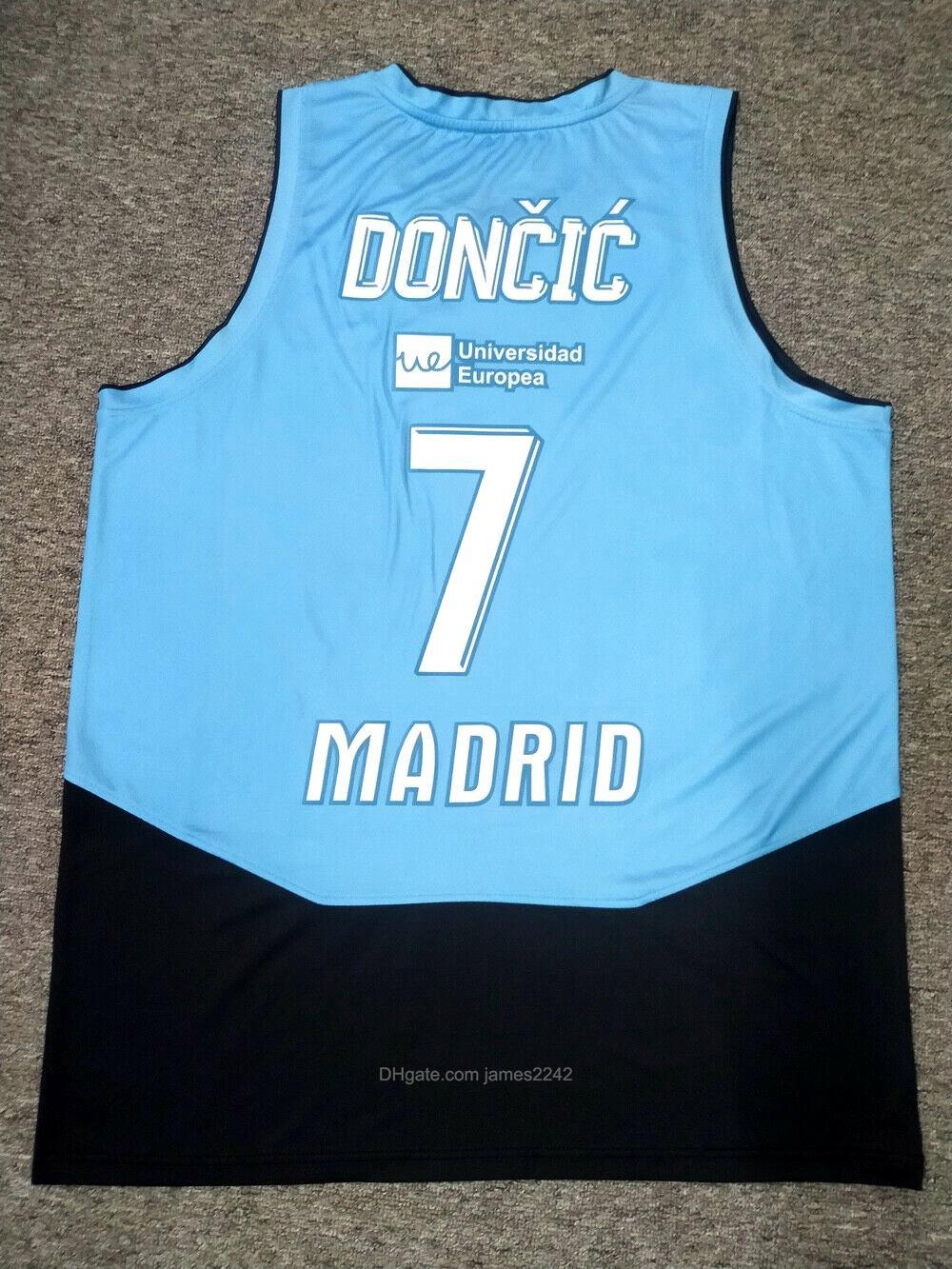 Personalizado Luka Doncic # 7 Espanha Jersey Euroleague Top Print Jerseys Qualquer Número Número Tamanho 2XS-3XL Azul Frete Grátis
