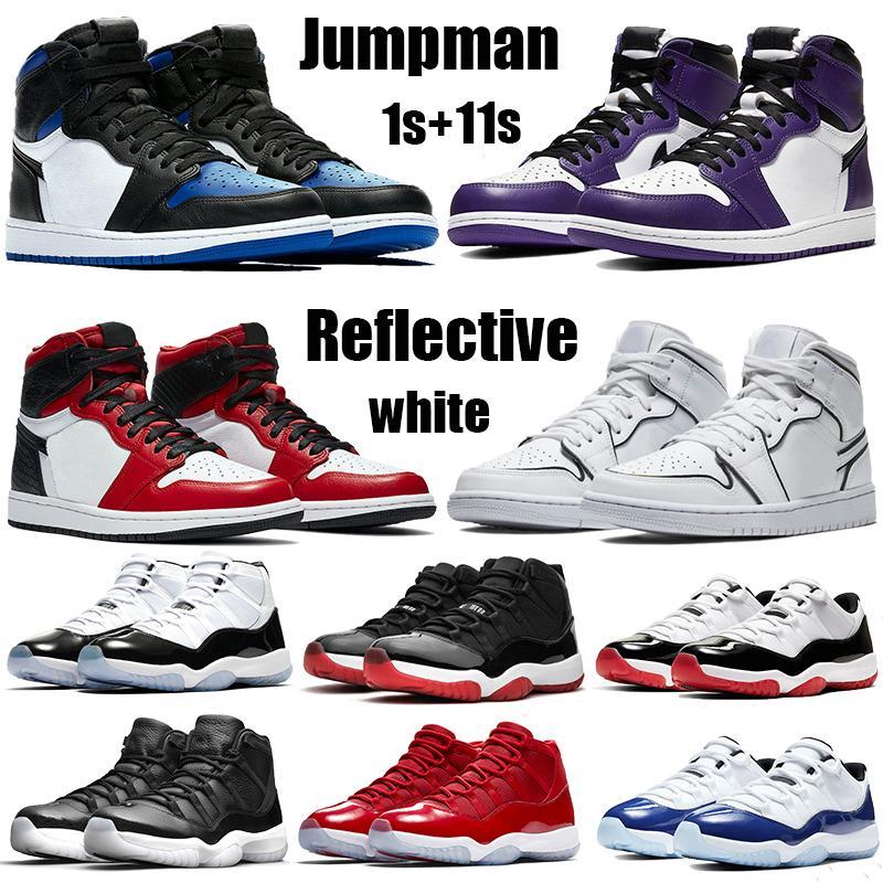 أعلى 1 1s jumpman أحذية كرة السلة عالية شيكاغو رويال بريد الأسود تو العاكس الأبيض 11 11 ثانية منخفض كونكورد 45 بليد الجري أحذية رياضية المدربين