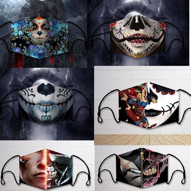 máscaras del partido de Halloween máscaras de tela mecánica frescos estupendos personalizados impresos adultos máscaras lavables repetitivas patrón junta insertable