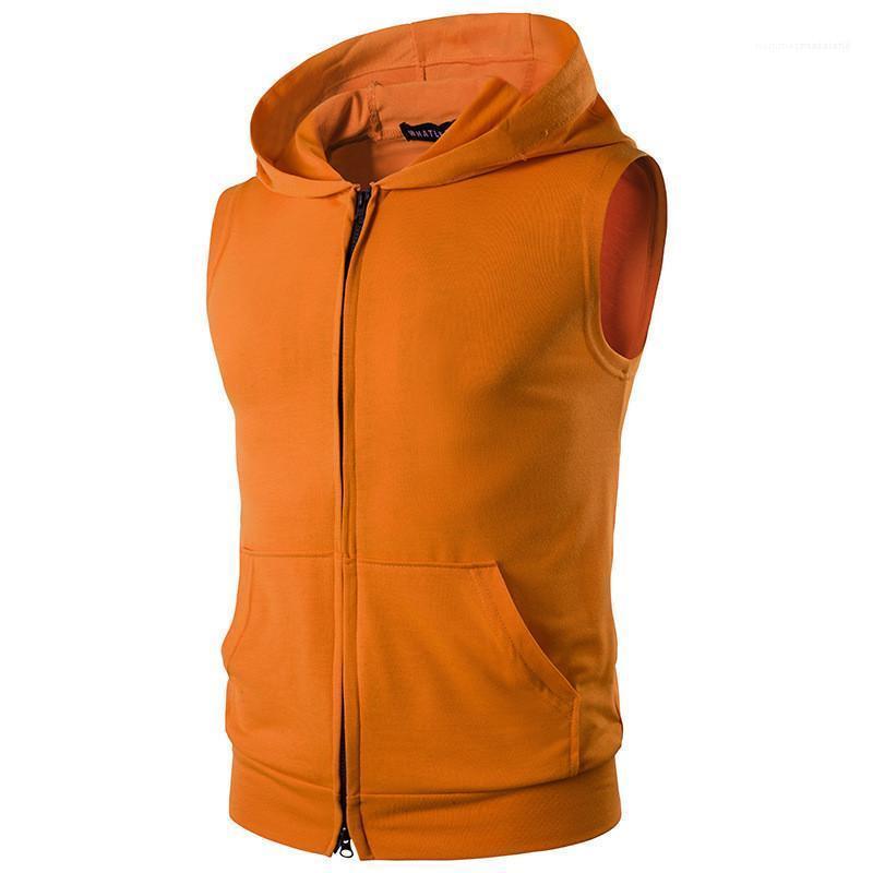 Cepler ile Renk Casual Kolsuz Erkek Hırka Ince Tasarımcı Hoodies Moda Kapüşonlu Katı Yelek Tişörtü Tops Mens Fmlhx