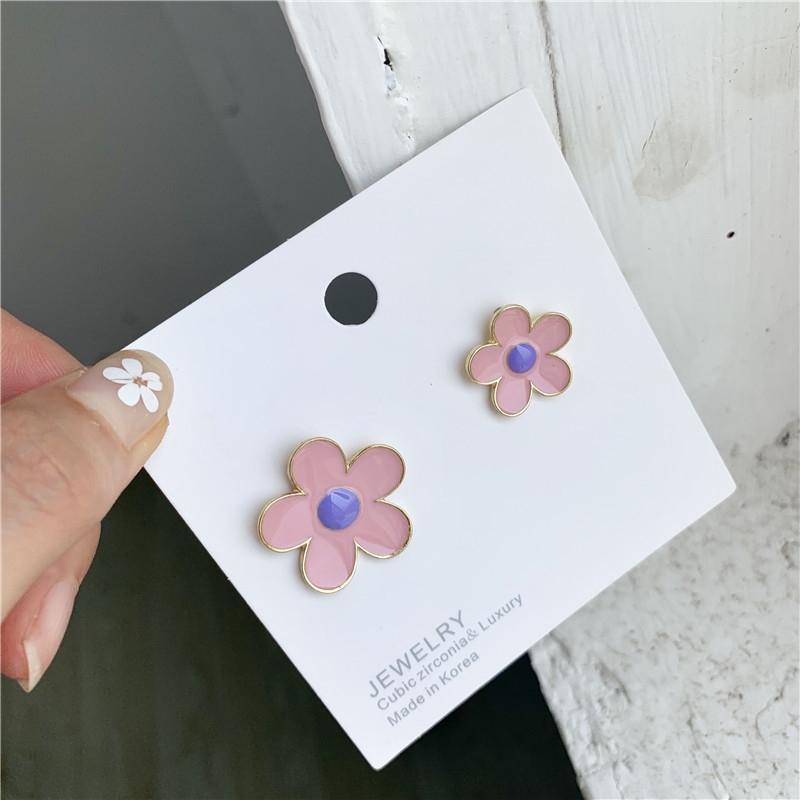 S925 ago d'argento e coreano eleganti piccoli orecchini temperamento semplice ragazza di fiore ins colorati orecchini asimmetrici q0qkD