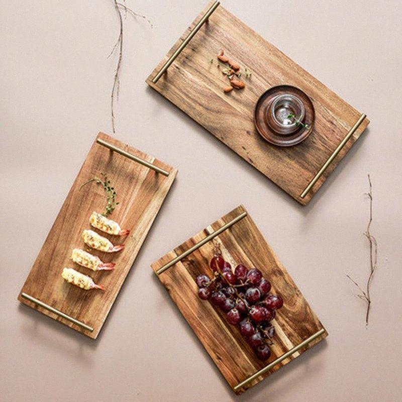 Simples madeira maciça retangular Jantar prato de frutas, Lanche, Sobremesa Acacia bandeja de madeira com punho Household Cafe Suprimentos WY609 Su4a #