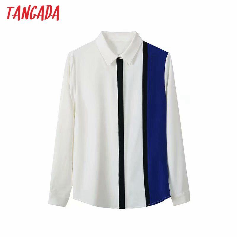 Tangada kadınlar çizgili baskı şifon gömlek uzun 2020 Sonbahar şık ofis bayanlar iş elbisesi 4Y13 bluzlar manşonlu