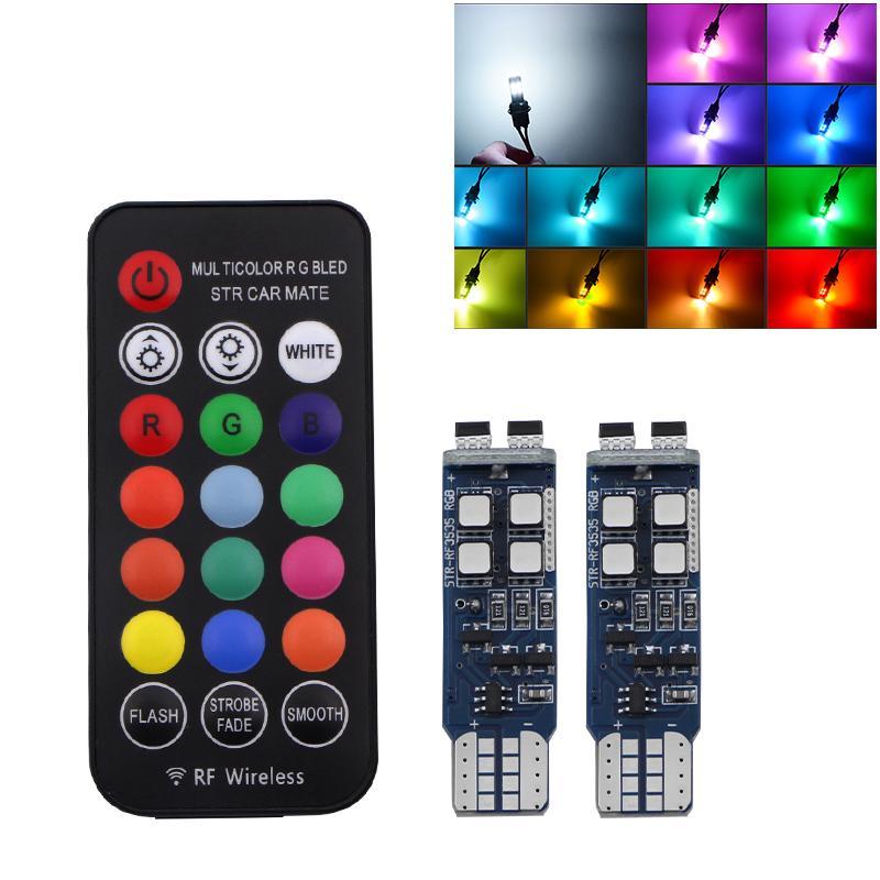 2 PC-Auto-Blitz-Röhrenblitz-Licht T10 W5W 194 RGB Lampen mit Fernbedienung Indoor 12V Scheinwerfer Wedge LED Atmosphäre Blinker