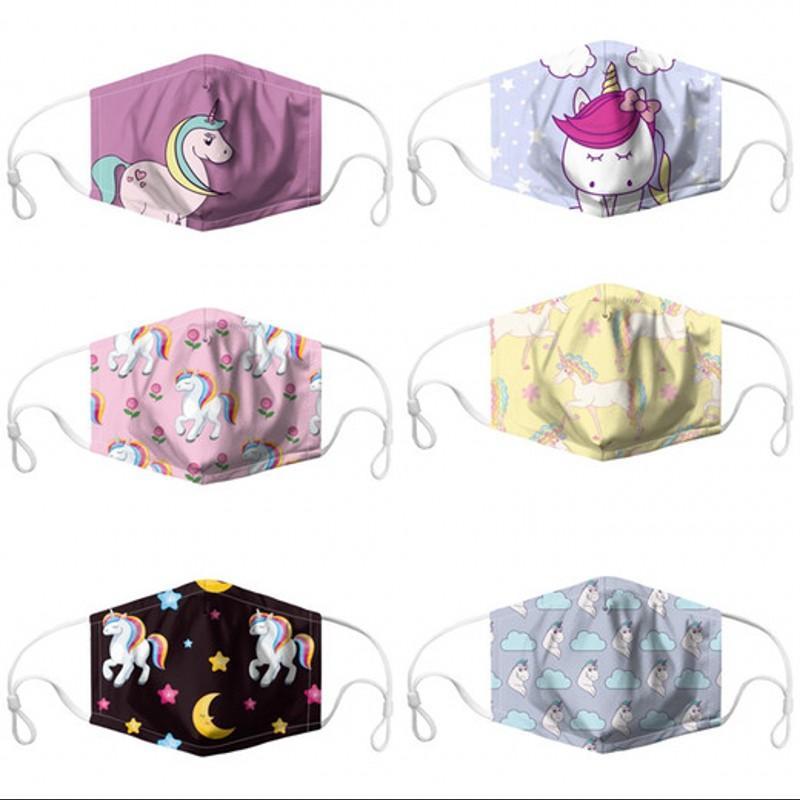 Enfants Masque Lavable Mascarilla Reuseable Impression numérique respirateurs Protection anti-poussière PM2,5 licorne arc-en-Motif Cartoon 6JQ D2