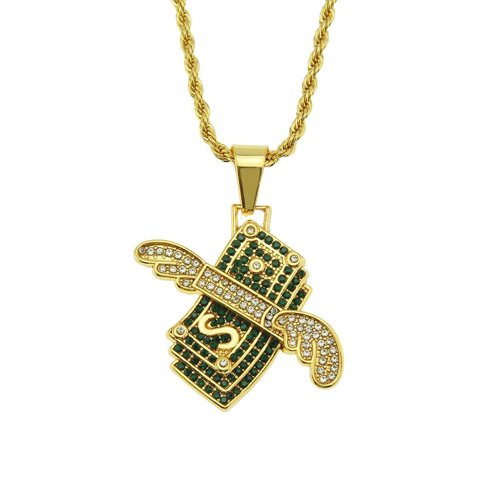 2020 designer necklace European and American hip-hop dollar diamond angel wings pendant necklace pendant men's fashion