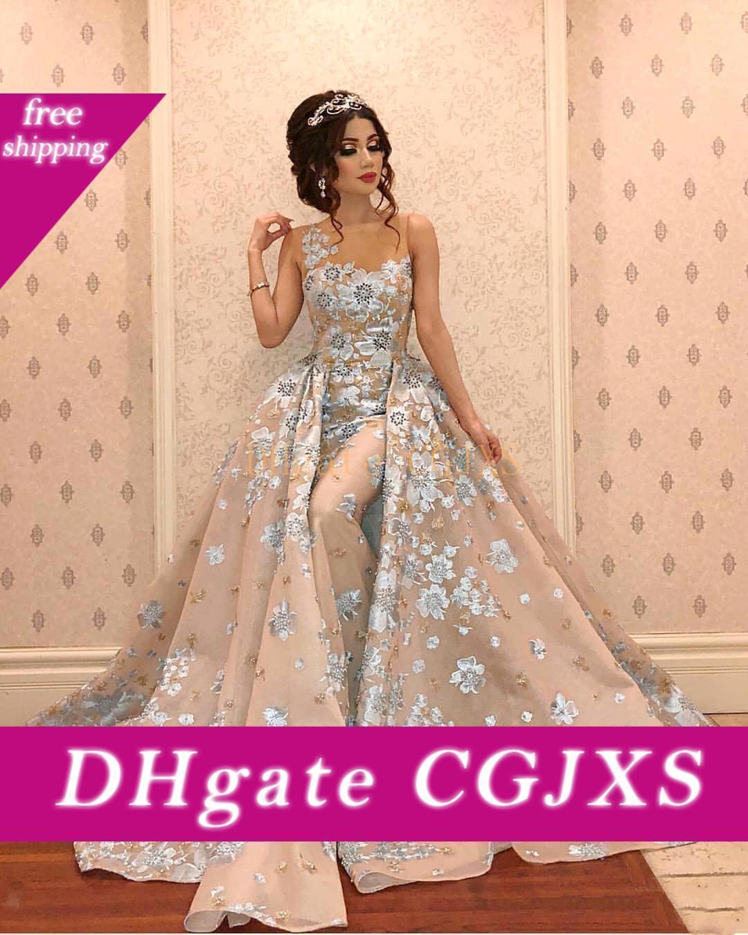 2019 Spitze-Nixe-Abend-Kleid mit abnehmbarem Zug Sheer Jewel Ausschnitt Plus Size Abendkleider Appliqued wulstige formales Partei-Kleid