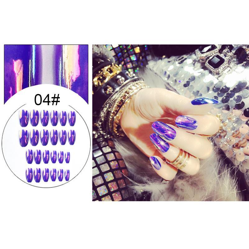 DIY Dekorasyon MU8669 için 24 Adet Tırnak İpuçları Parlak Tam Kapak Profesyonel Nail Patch Aracı Sanat